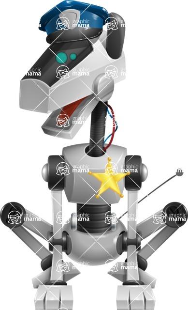 High-Tech Robot Dog Cartoon Vector Character AKA BARD - Police Dog