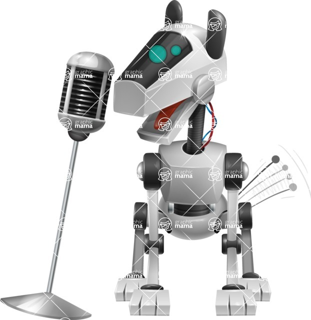 High-Tech Robot Dog Cartoon Vector Character AKA BARD - Sing