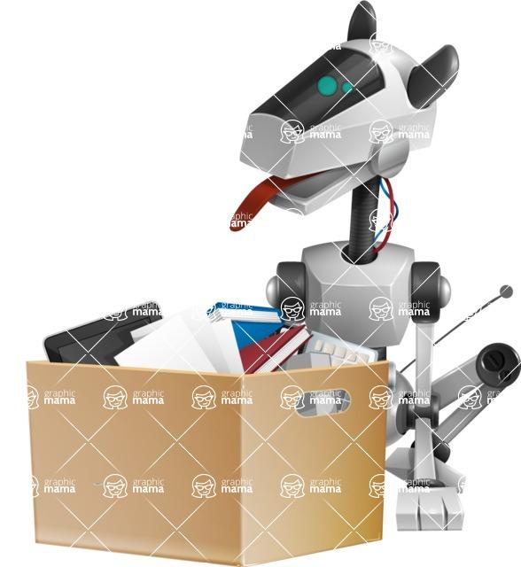 High-Tech Robot Dog Cartoon Vector Character AKA BARD - Delivery 1