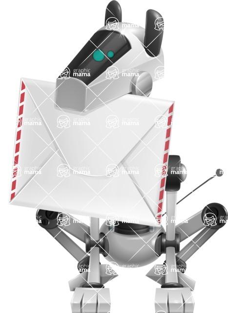 High-Tech Robot Dog Cartoon Vector Character AKA BARD - Dog Postman