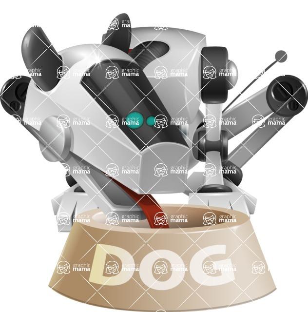 High-Tech Robot Dog Cartoon Vector Character AKA BARD - Doggy Dish