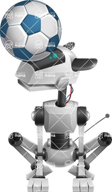 High-Tech Robot Dog Cartoon Vector Character AKA BARD - Soccer