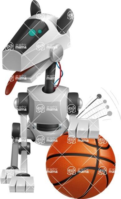 High-Tech Robot Dog Cartoon Vector Character AKA BARD - Basketball