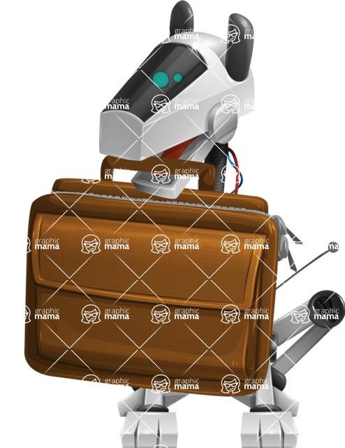 High-Tech Robot Dog Cartoon Vector Character AKA BARD - Briefcase
