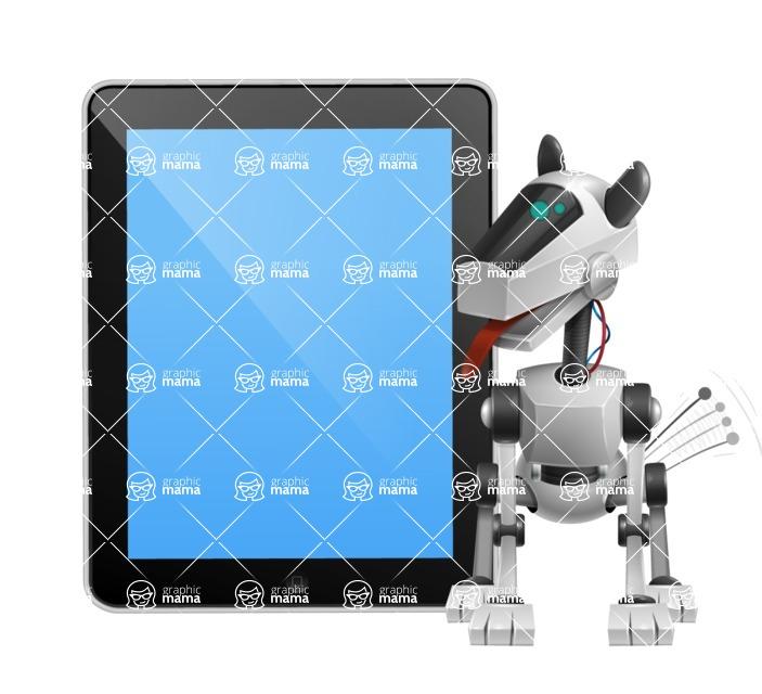 High-Tech Robot Dog Cartoon Vector Character AKA BARD - iPad 1