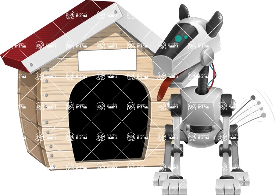 High-Tech Robot Dog Cartoon Vector Character AKA BARD - Doggy House