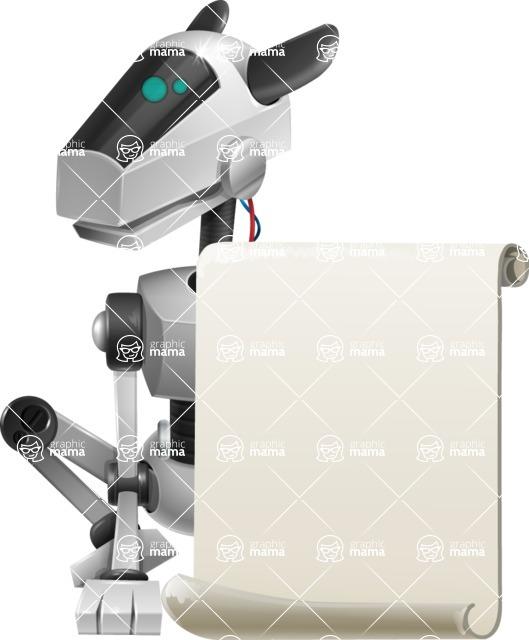 High-Tech Robot Dog Cartoon Vector Character AKA BARD - Sign 1