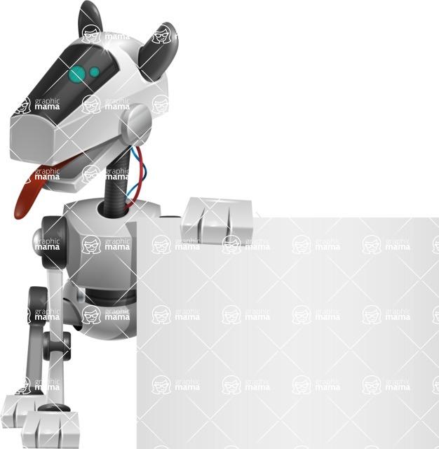 High-Tech Robot Dog Cartoon Vector Character AKA BARD - Sign 2