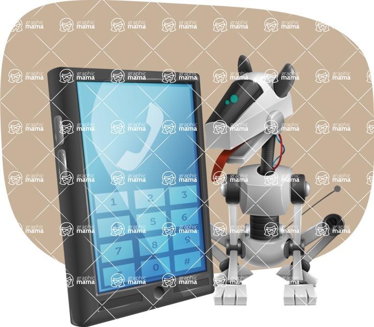 High-Tech Robot Dog Cartoon Vector Character AKA BARD - Shape11