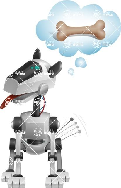 High-Tech Robot Dog Cartoon Vector Character AKA BARD - Bone 2