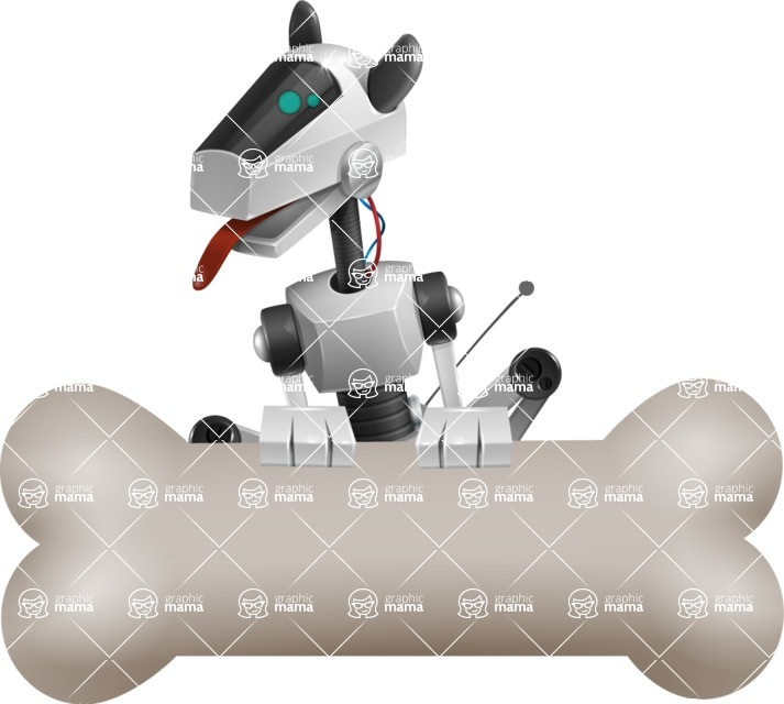 High-Tech Robot Dog Cartoon Vector Character AKA BARD - Bone 3