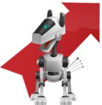 High-Tech Robot Dog Cartoon Vector Character AKA BARD - Arrow