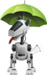 High-Tech Robot Dog Cartoon Vector Character AKA BARD - Umbrella