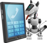 High-Tech Robot Dog Cartoon Vector Character AKA BARD - Phone