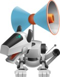 High-Tech Robot Dog Cartoon Vector Character AKA BARD - Loudspeaker