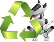 High-Tech Robot Dog Cartoon Vector Character AKA BARD - Recycling