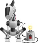 High-Tech Robot Dog Cartoon Vector Character AKA BARD - Charging