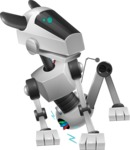 High-Tech Robot Dog Cartoon Vector Character AKA BARD - Under Construction