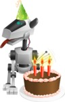 High-Tech Robot Dog Cartoon Vector Character AKA BARD - Birthday
