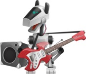 High-Tech Robot Dog Cartoon Vector Character AKA BARD - Music