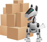 High-Tech Robot Dog Cartoon Vector Character AKA BARD - Delivery 2