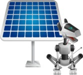 High-Tech Robot Dog Cartoon Vector Character AKA BARD - Solar Panel