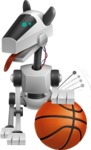 High-Tech Robot Dog Cartoon Vector Character AKA BARD - Basketball