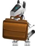 High-Tech Robot Dog Cartoon Vector Character AKA BARD - Briefcase