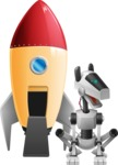 High-Tech Robot Dog Cartoon Vector Character AKA BARD - Rocket
