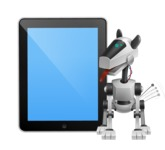 High-Tech Robot Dog Cartoon Vector Character AKA BARD - iPad 1