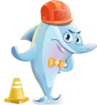 Funny Dolphin Cartoon Character Illustrations - as a Construction worker
