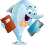 Funny Dolphin Cartoon Character Illustrations - Choosing between Book and Tablet