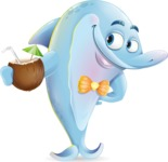 Funny Dolphin Cartoon Character Illustrations - Drinking coconut cocktail