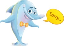 Funny Dolphin Cartoon Character Illustrations - Feeling sorry