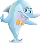 Funny Dolphin Cartoon Character Illustrations - Finger pointing with angry face