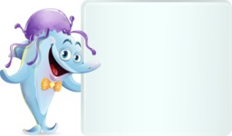 Funny Dolphin Cartoon Character Illustrations - Holding a Blank sign and Pointing