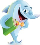 Funny Dolphin Cartoon Character Illustrations - Holding a book