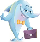 Funny Dolphin Cartoon Character Illustrations - Holding a briefcase
