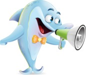 Funny Dolphin Cartoon Character Illustrations - Holding a Loudspeaker