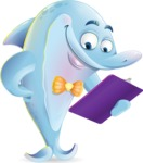 Funny Dolphin Cartoon Character Illustrations - Holding a notepad