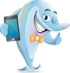 Funny Dolphin Cartoon Character Illustrations - Holding a smartphone