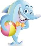 Funny Dolphin Cartoon Character Illustrations - Holding beach ball