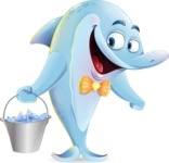Funny Dolphin Cartoon Character Illustrations - Holding bucket with fish
