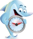 Funny Dolphin Cartoon Character Illustrations - Holding clock