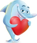 Funny Dolphin Cartoon Character Illustrations - Holding heart