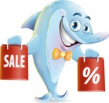 Funny Dolphin Cartoon Character Illustrations - Holding shopping bags