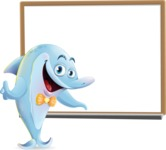 Funny Dolphin Cartoon Character Illustrations - Making a Presentation on a Blank white board
