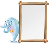 Funny Dolphin Cartoon Character Illustrations - Making peace sign with Big Presentation board