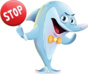 Funny Dolphin Cartoon Character Illustrations - Making stop gesture with both hands