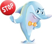 Funny Dolphin Cartoon Character Illustrations - Making stop with a hand